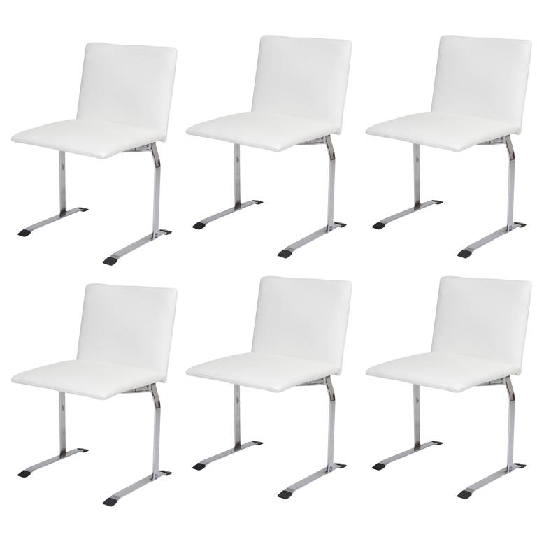 Giovanni Offredi for Saporiti Dining Chairs in White Vinyl on Chrome Steel Frame