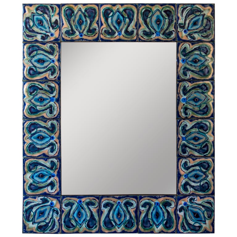 Bodil Eje, Unique Evergreen and Cobalt Enameled Copper Rectangular Wall Mirror For Sale