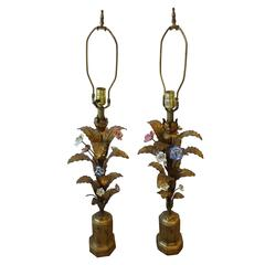 Pair of Mid-Century Italian Gold Gilt Tole Table Lamps, Italy
