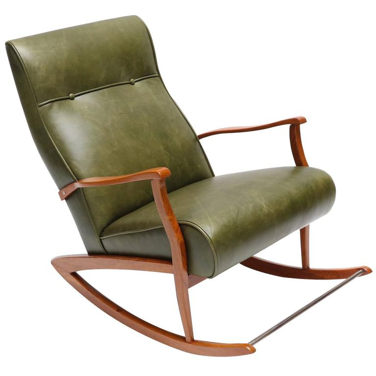 1960s Brazilian Rocking Chair in Green Leather For Sale