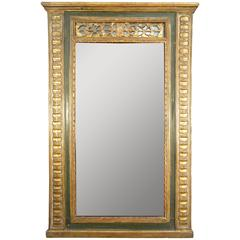 Antique Italian Gold Gilded and Painted Mirror, Early 1800s