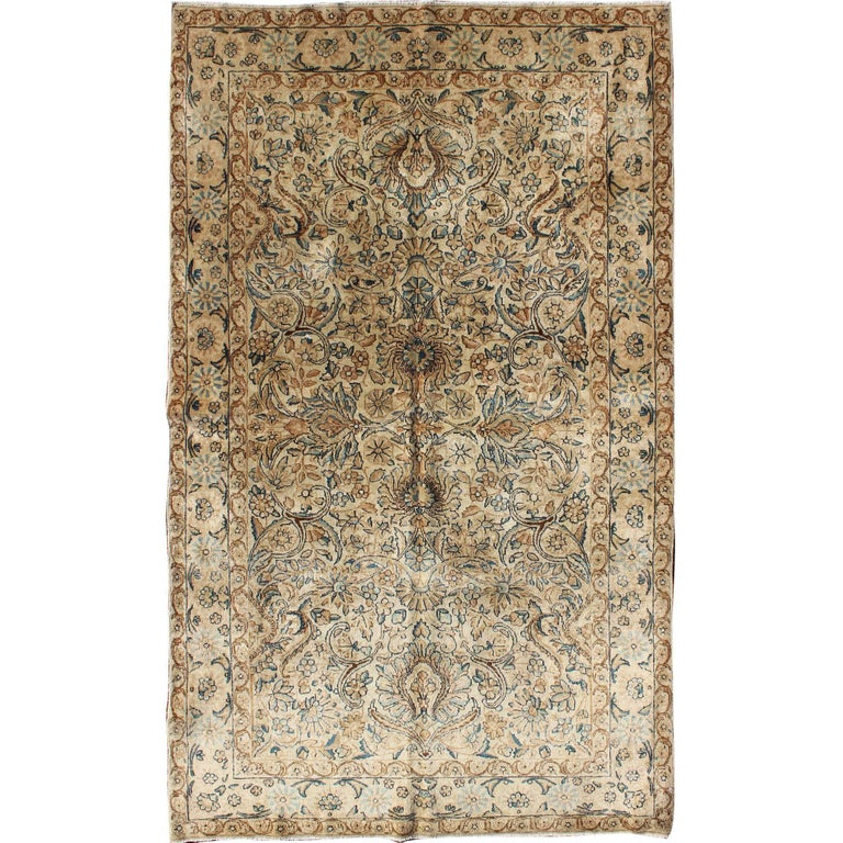 Antique Persian Ravar Kerman Rug in Ivory Background Blue and Brown