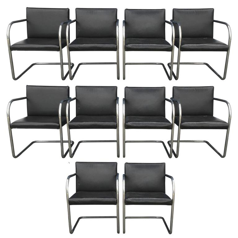 ten ludwig mies van der rohe brno dining chairs for knoll for sale at 1stdibs. Black Bedroom Furniture Sets. Home Design Ideas