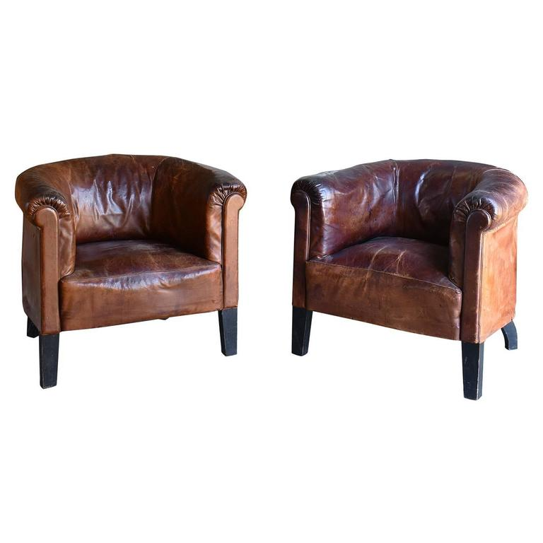 Pair of Vintage Leather Club Chairs,  circa 1920