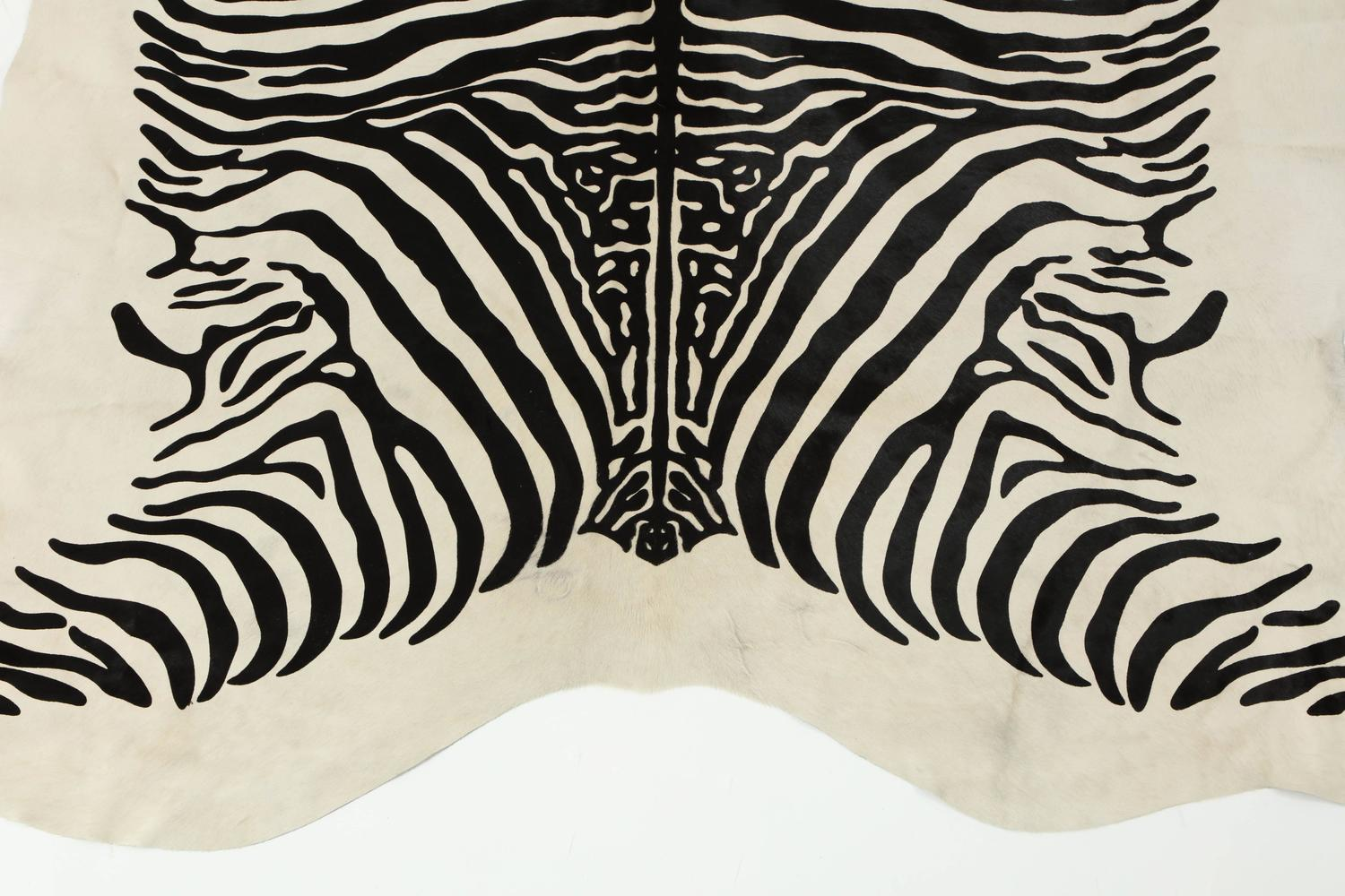 Contemporary Stenciled Zebra Print Brazilian Cowhide Rug