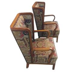 Pair of Unusual Wingback Lounge Chairs, Attributed to Jules Leleu