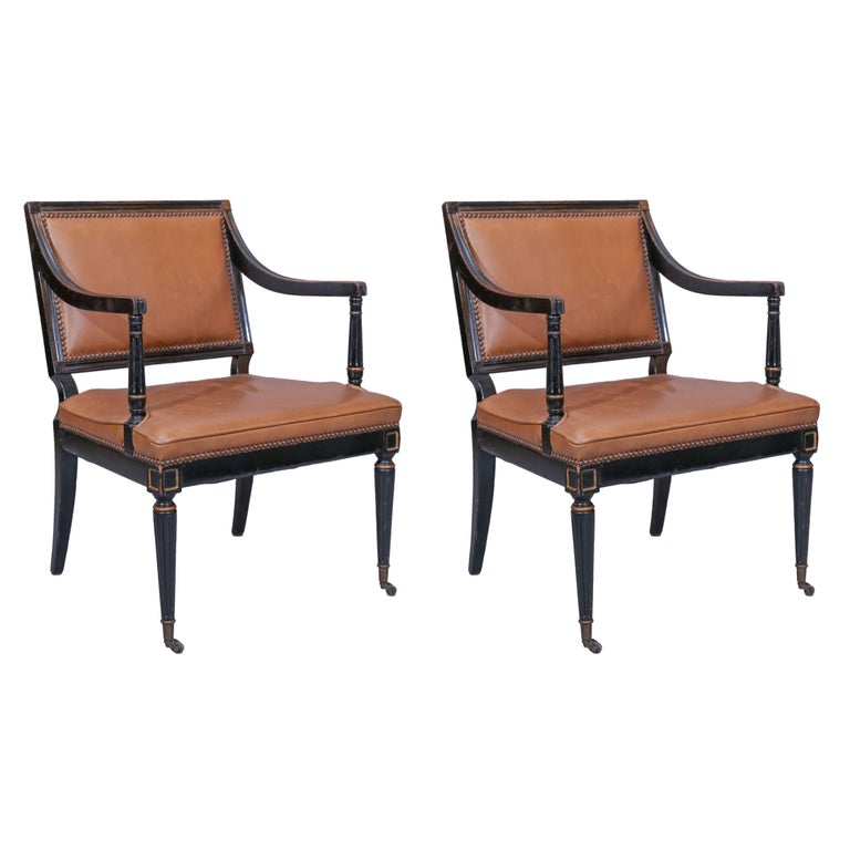 Pair of Directoire-Style Armchairs with Leather Upholstery