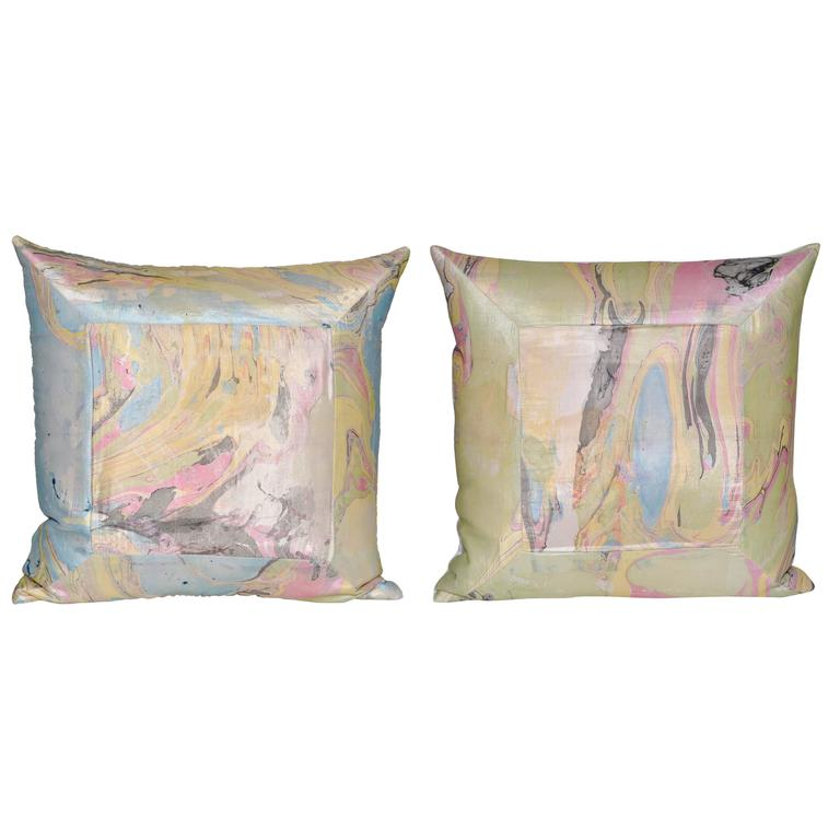 Pair of Vintage Italian Marbled Satin with Irish Linen Cushion Pillows