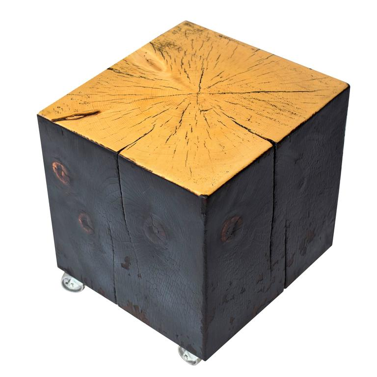 Shou Sugi Ban Blackened Box Coffee Table with Casters