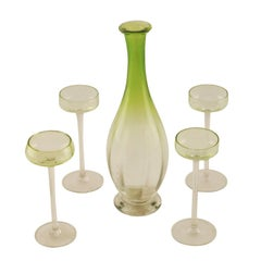 Venitian Set with Four Glasses and a Jug in Murano Glass