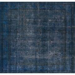 Apadana - Vintage 1960s Blue Overdyed Persian Carpet, 12.04x13