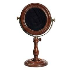 French Laboratory Magnifying Mahogany Table Mirror
