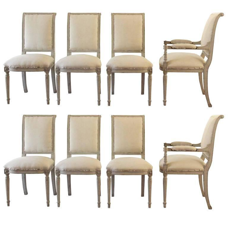 Set of Six 19th Century Swedish Painted Directoire Side Chairs & Two Armchairs 1