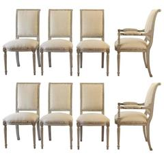 Set of Six 19th Century Swedish Painted Directoire Side Chairs & Two Armchairs