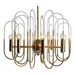 Gaetano Sciolari Hollywood Regency Brass and Glass Chandelier