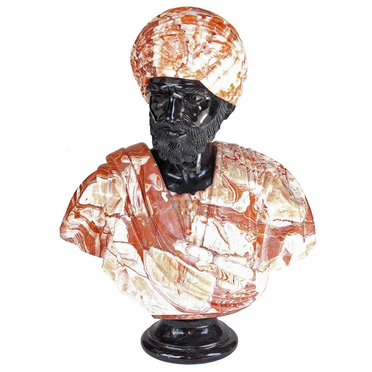 Large Marble Bust of Man Wearing Turban in the Orientalist Style, circa 1920