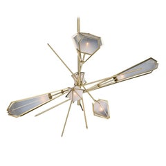 Harlow Large Chandelier in Satin Brass and Alabaster White Glass