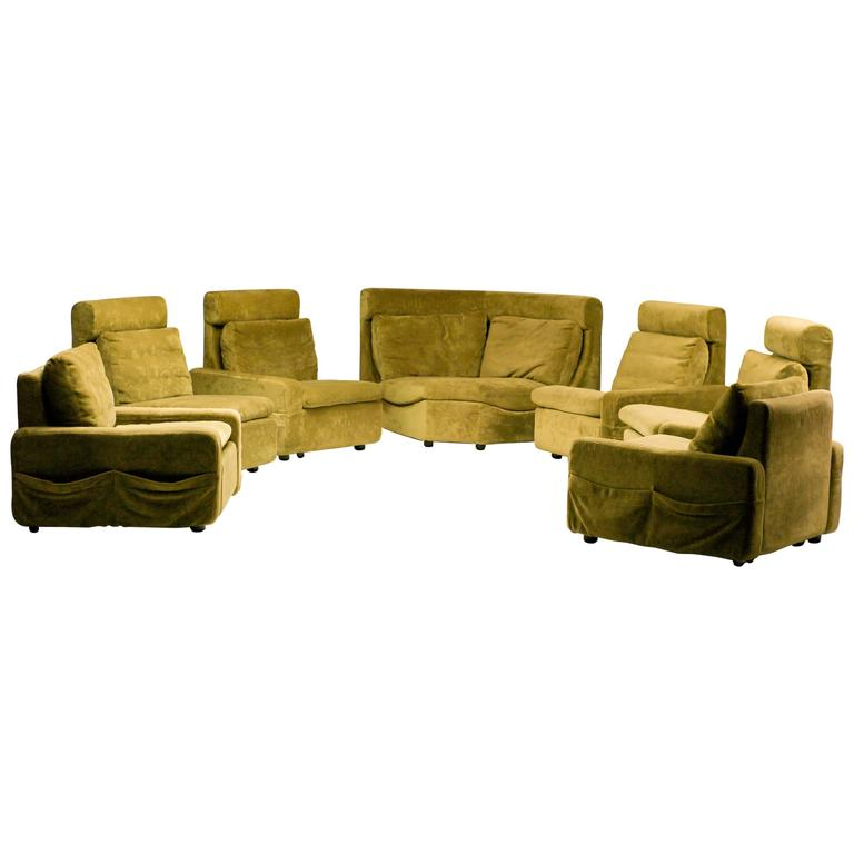 walter knoll modular sofa in green velvet for sale at 1stdibs. Black Bedroom Furniture Sets. Home Design Ideas