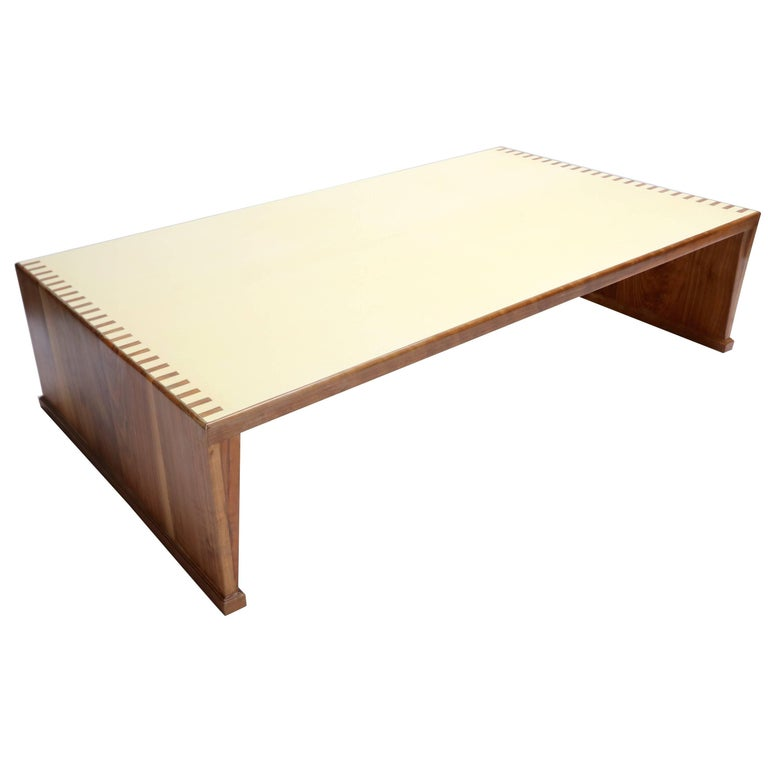 Custom Walnut Coffee Table with Lacquered Top