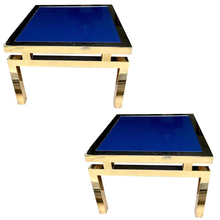 Pair Glass Top End Tables At 1stdibs