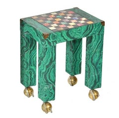 Italian Malachite Paper Covered Occasional Table with Inset Stone Game Board