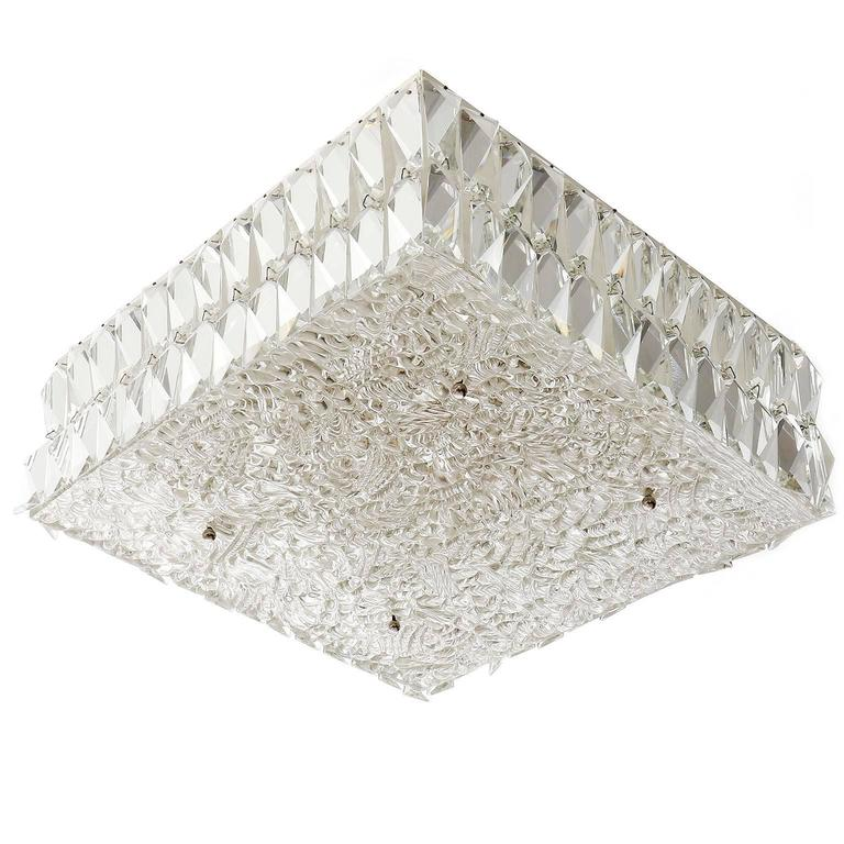 Square Kalmar Light Fixture, Textured and Crystal Glass, 1960s For ...
