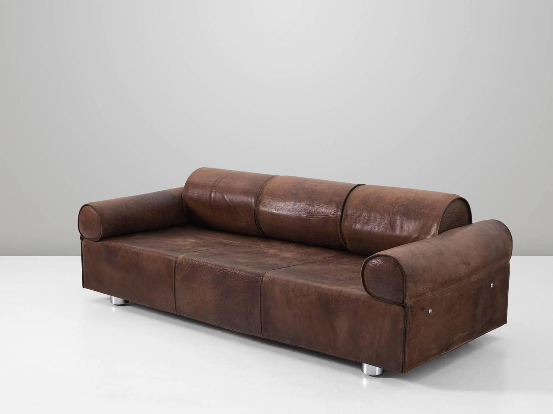 Marzio Cecchi Rare Brown Buffalo Leather Sofa For Sale At 1stdibs