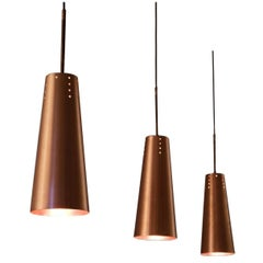 Set of Three Solid Copper Pendants