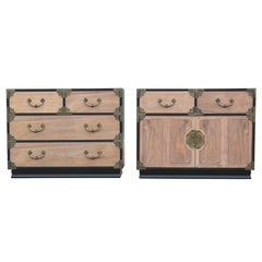 Pair of Henredon Two Tone Bachelors Chests / Nightstands w/ Brass Hardware
