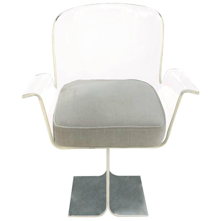 Pace Collection Desk Chair With Swiveling Lucite Seat 1970s 1