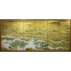 Japanese Six Panel Screen: Rocks and Waves in a Coastal Landscape