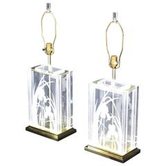 Pair of Etched Flowers Table Lamps Fredrick Ramond