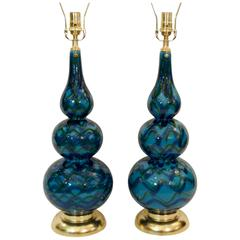 Pair of Blue Glazed Table Lamps with Gold Leaf Hardware