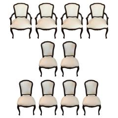 Set of Ten Glam Vintage Dining Chairs in Updated White Leather
