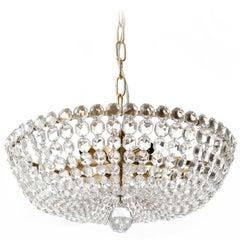 Lobmeyr Pendant Light Chandelier No. 6276 B, Brass Crystal Glass, Austria, 1960s