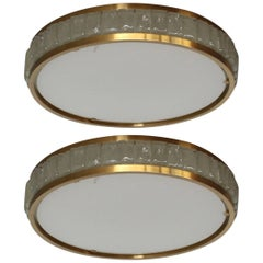 Two Fine French Art Deco Round Glass and Brass Flush Mount by Perzel