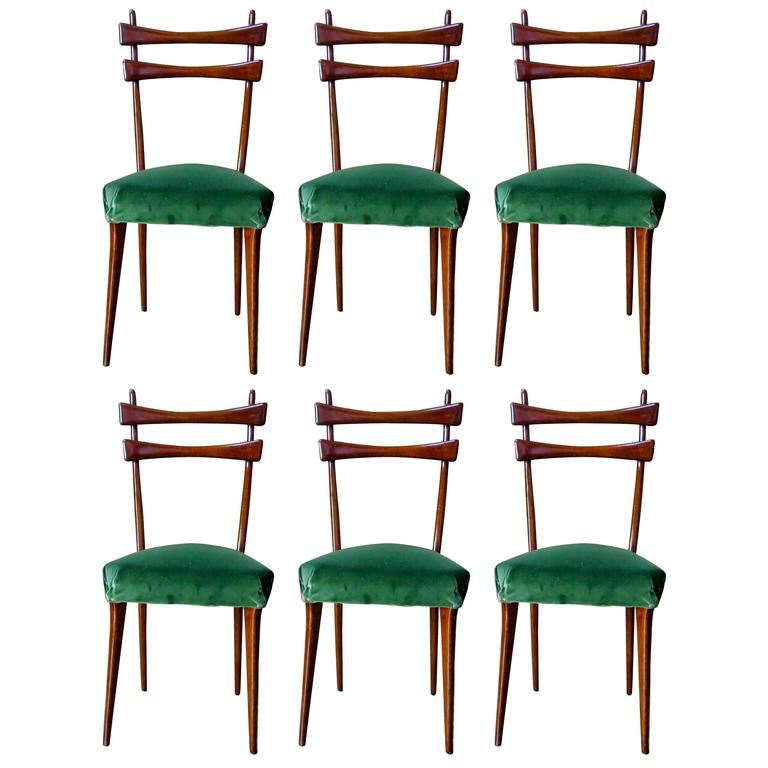 Mid century italian dining chairs set of six in velvet Mid century chairs