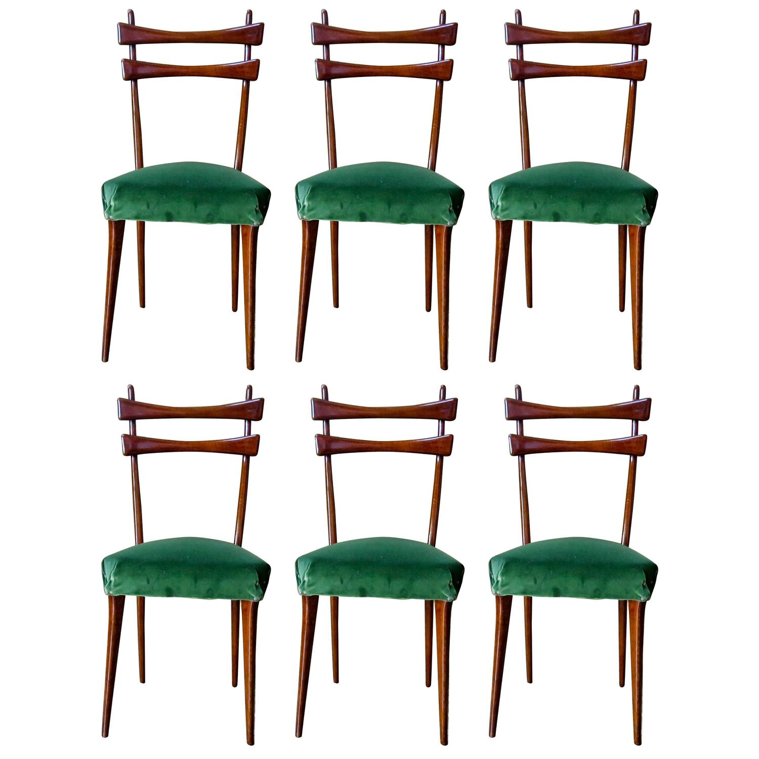 Mid Century Italian Dining Chairs Set of Six in Velvet 1950s For