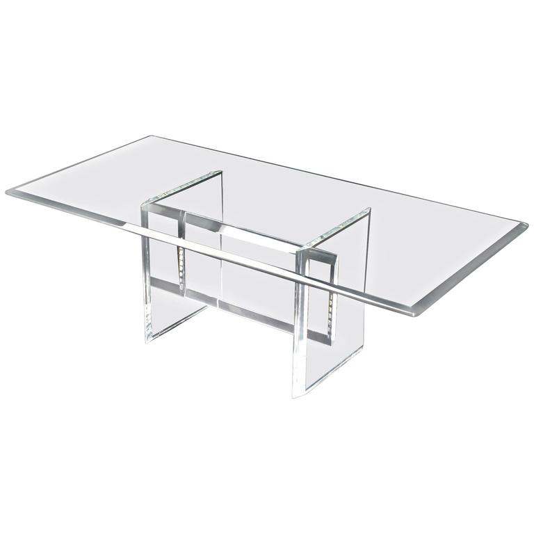 Lucite Base Glass Top Rectangular Coffee Table For Sale At