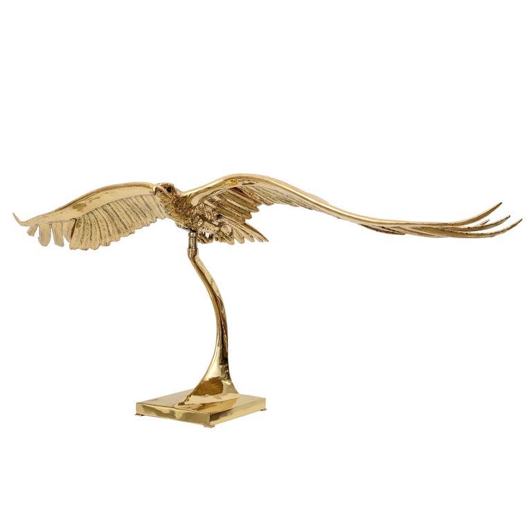 Golden Bronze Sculpture one of a kind  Eagle Signed Piece by J. Duval-Brasseur For Sale