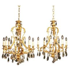 Italian Pair of Gilded Eight and Six-Light Antique Chandeliers