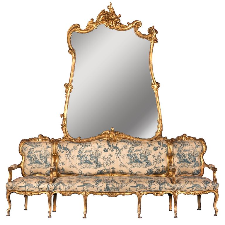 "19th Century German Sofa and Mirror or ""Canape De L'amitie"" in Louis XV Style For Sale"