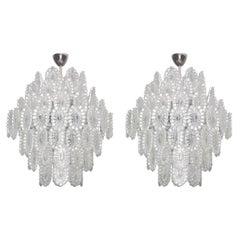 Pair of European Mid-Century Modern Impressive Crystal Glass Chandelier