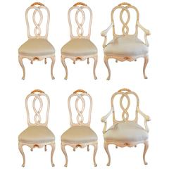 Louis XV Style Painted Dining Chairs, four side chairs and two armchairs.