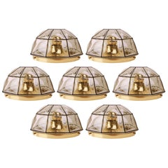 Seven Large Iron Bubble Glass Flush Mount Lights by Limburg, circa 1960s