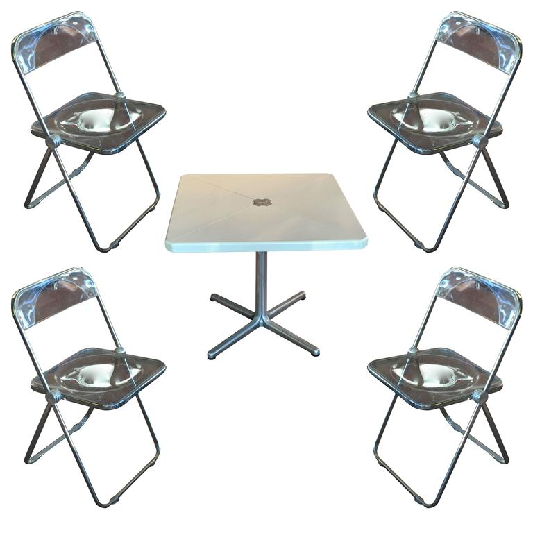 Modern Metal Folding Card Table And Four Plia Chairs By Piretti F