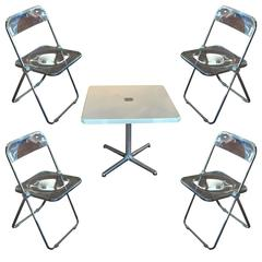 """Modern Metal Folding Card Table and Four """"Plia"""" Chairs by Piretti for Castelli"""