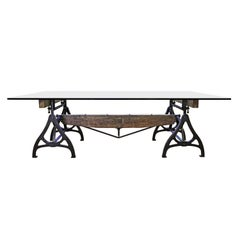 Conference Dining Table. Vintage Industrial Wood Steel Cast Iron & Glass