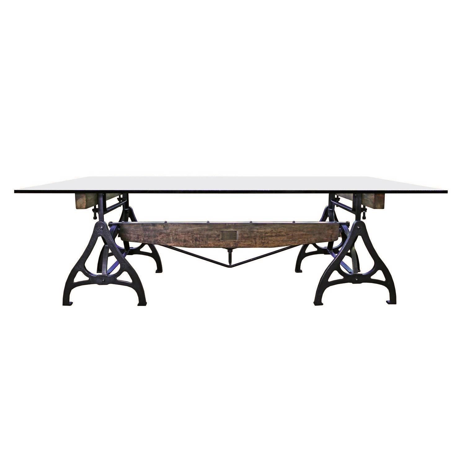 Conference Dining Table. Vintage Industrial Wood Steel Cast Iron U0026 Glass For  Sale