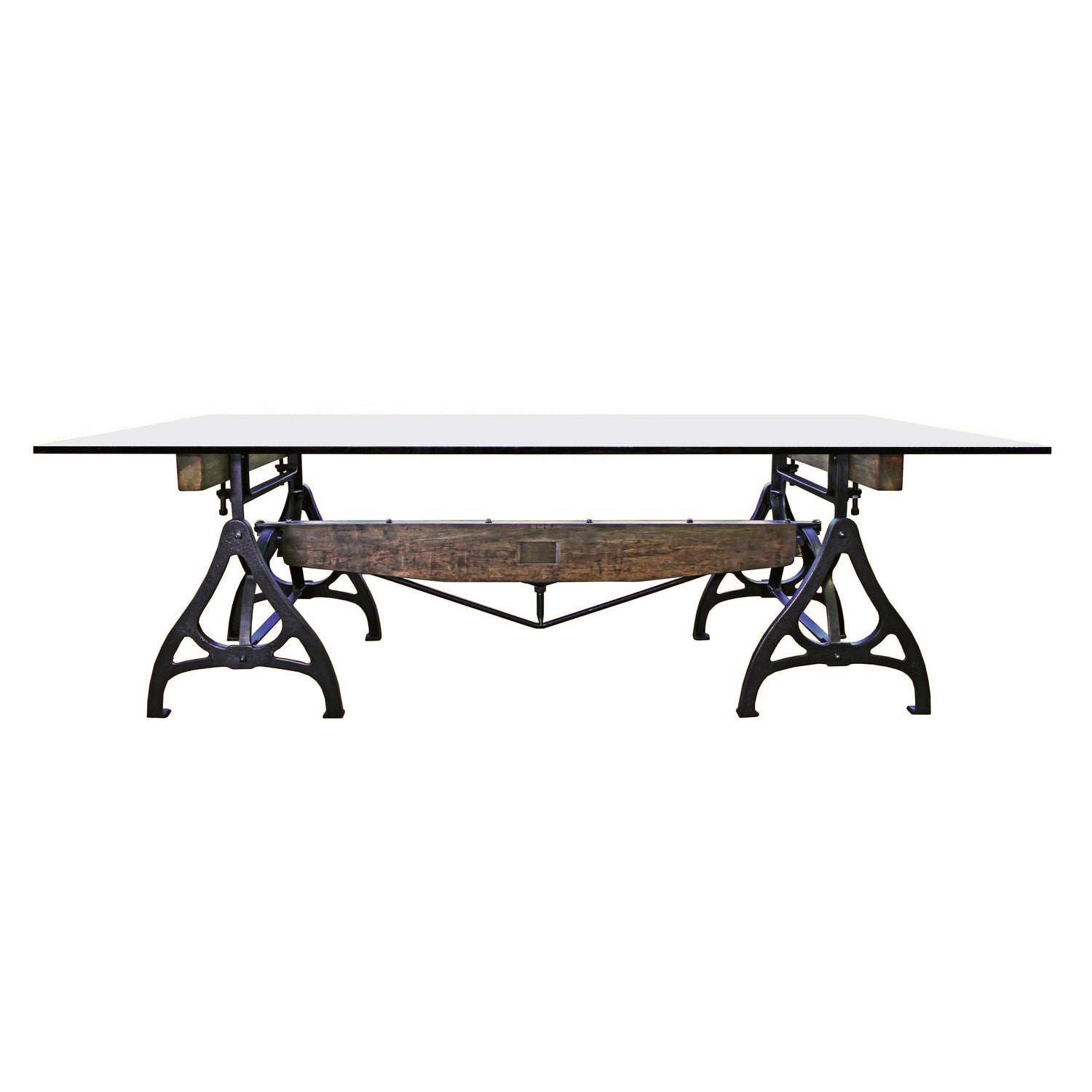 Swell Conference Dining Table Vintage Industrial Wood Steel Cast Iron Glass Onthecornerstone Fun Painted Chair Ideas Images Onthecornerstoneorg